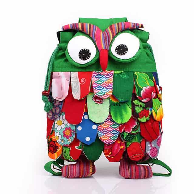 Medium-Floral-Cotton-Owl-Bag-Bagpack-Backpack-for-Kids-Girl-Children-Hasp-Drawstring-Cartoon-Cute-Owl