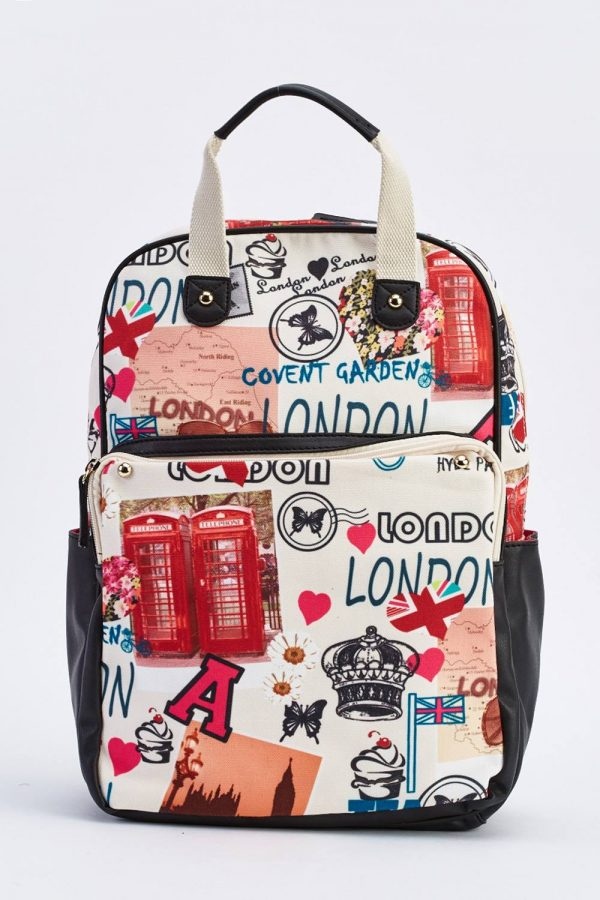 Contrasted Graffiti Print Backpack