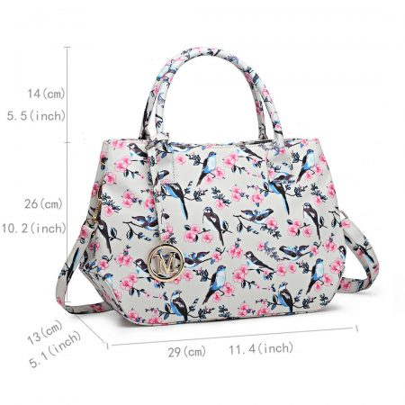 Women Matte Oilcloth Shoulder Tote Bag Ladies Birds Flower Print Satchel Handbag