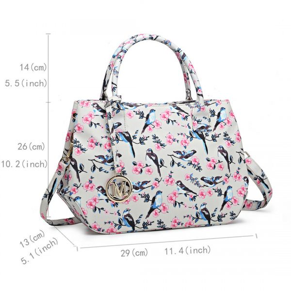 Women Matte Oilcloth Shoulder Tote Bag Ladies Birds Flower Print Satchel Handbag