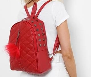 RED BACKPACK - Women's Red Quilted Pom Pom Backpack