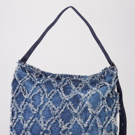 DARK BLUE DISTRESSED DENIM HOBO BAG