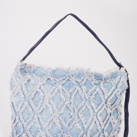 DISTRESSED DENIM HOBO BAG