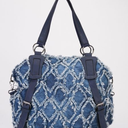 RAW EDGE DIAMOND PATTERN DENIM BAG
