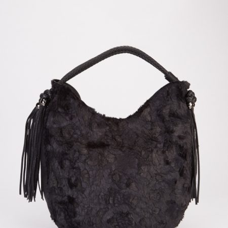 tassel-faux-fur-handbag-black