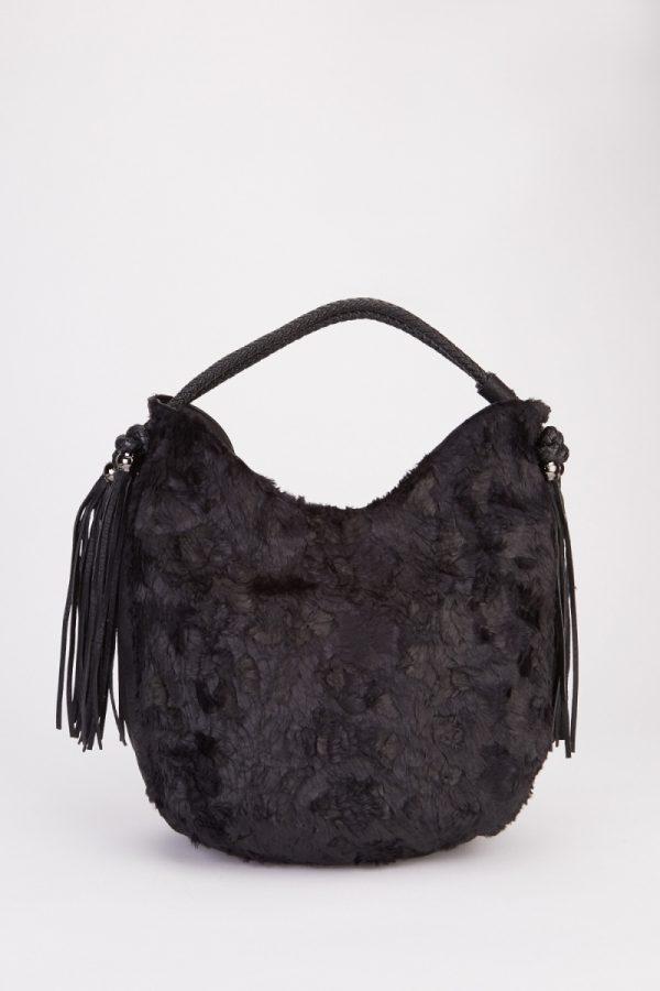 tassel-faux-fur-handbag-black